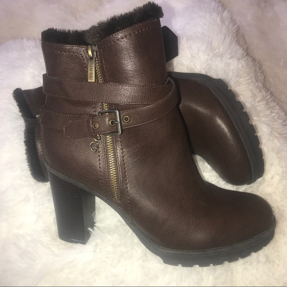 73868f10635 NWOT Guess Size 12 Fur Lined Block Heeled Boots S1